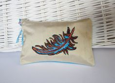 Small zip up silk purse with embroidered feather by NicolaJDesigns, Uni, Zip Ups, Feather, Throw Pillows, Silk, Purses, Design, Handbags, Quill