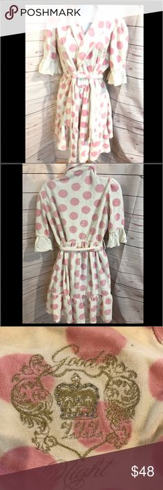"Juicy Couture Bathrobe Juicy Couture Bathrobe.  Cream color with PINK Victoria's Secret dots.  Inside satin tie and belts around waist.  Cotton/poly and super soft.  Ruffles by arms and at hem.  35"" long, 18"" across chest.  Excellent condition, no flaws Juicy Couture Intimates & Sleepwear Robes"