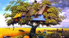 Es una hermosa imagen donde aparece la casa perfecta en el árbol rodeada de animales, flores y pasto.