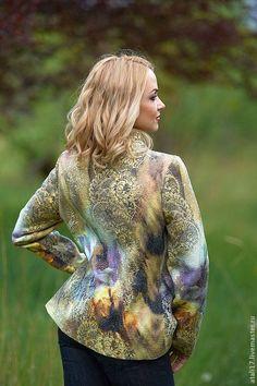 Купить Жакет Эвелина-войлок - абстрактный, жакет из войлока, жакет валяный, валяная одежда