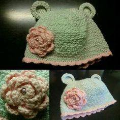 Cuffia crochet.  Pagina facebook Clara Fili e colori