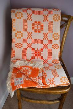 ZINGY Orange & White Vintage Meirion Mill Welsh Tapestry Blanket Bedspread  in Home, Furniture & DIY, Bedding, Blankets | eBay!