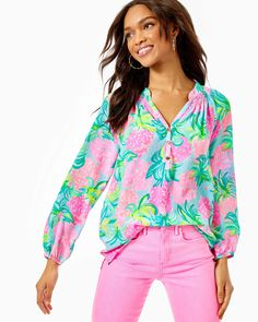 Pineapple Shake, Preppy Style, My Style, Tropical Outfit, Silk Top, Spring Summer Fashion, Cute Outfits, Trendy Outfits, Womens Fashion