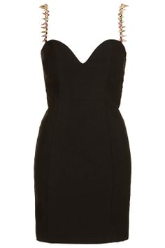 **Black Stud Strap Bodycon Dress by Rare - Clothing Brands - Clothing - Topshop