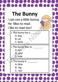 Easter Reading Comprehension Passages for Kindergarten - Designed to help prepare kids for end of the year state and district assessments. Reading Help, Reading Groups, Teaching Reading, Learning, Classroom Fun, Classroom Setting, Education And Literacy, Reading Comprehension Passages, Teaching Phonics