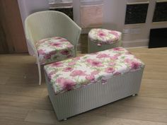 Another group of three Lloyd Loom pieces refurbished by Magnolias of Edenbridge