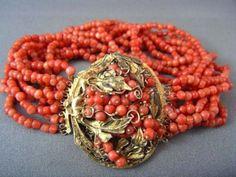 FINEST! Antique Genuine CORAL Gold Bracelet EXQUISITE!