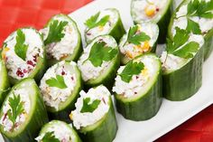 Fruits & Veggies—More Matters  shares.....  SNACK TIME! Try something different with your veggies like these Cucumber Canoes! Your kids will be sure to LOVE it!  http://www.fruitsandveggiesmorematters.org/main-recipes?com=2&recid=1479