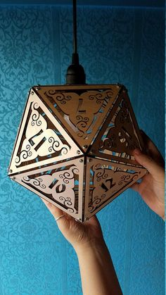 DnD Dice - Giant D&D Dice Lamp - RPG Game Room Geek Decor - 20 Sided - Large Wooden Hanging Lantern - Pathfinder - Dungeons Dragons- Heather Altreche-Johnson- Nerd Room, Gamer Room, Geek Decor, Deco Gamer, Home Music, D20 Dice, Game Room Design, Handmade Lamps, D 20