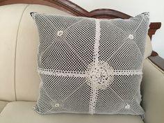 "Hand made pillow includes pillow insert. 18""x18"" By Mar $100 Cojín con inserto incluido. Tamaño 45cmx45cm. www.marlifeshop.com WhatsApp (507) 62523992"