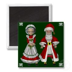 Cute Mr. and Mrs. Claus Christmas Magnets by Graphic Allusions. $3.70 per magnet. #christmas #decorations #magnets #santa