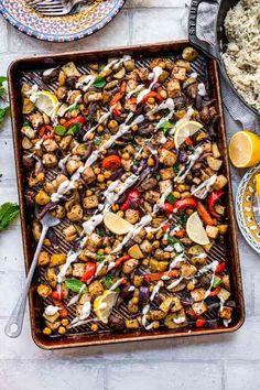 How To Build a Sheet Pan Dinner in 2021 Vegan Dinner Recipes, Vegan Dinners, Vegetable Recipes, Vegetarian Recipes, Veggie Food, Easy Dinners, Dessert Recipes, Desserts, Half Baked Harvest