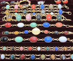 colorful scarab bracelets - I have one of these from each grandmother . rarely wear bracelets and wish I knew more about their history. Vintage Charm Bracelet, Charm Bracelets, Beaded Bracelets, Necklaces, Antique Jewelry, Vintage Jewelry, Scarab Bracelet, Friendship Love, Soul Mates