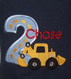 Greatstitch Digger Construction Birthday Shirt 1st Birthday 2nd Birthday 3rd Birthday on Etsy, $24.95