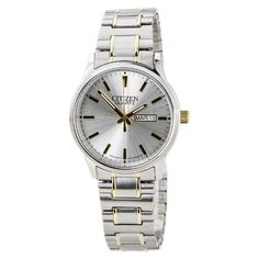 Citizen BF061490A Mens Easy Reader Silver Dial Two Tone Expansion Steel Band Watch * Click image to review more details.