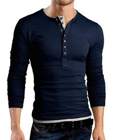 6e68d36d9ba Henley Shirts for Men Long Sleeve Slim Fit Tall Navy Blue Plain Solid Color  Casual Basic