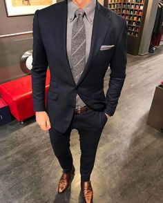 Male Grey Shirt Tie And Pocket Square With Navy Blue Suit Brown Shoes Style Blue Suit Brown Shoes, Navy Blue Suit, Blue Suits, Blue Suit Men, Men's Suits, Best Mens Fashion, Mens Fashion Suits, Men's Fashion, Fashion Guide