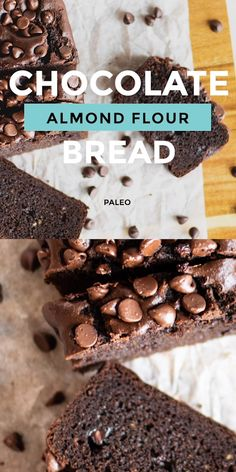 Chocolate Chocolate Chip Paleo Bread made with almond flour lightly sweetened and dotted with chocolate chips This bread has great texture NEW FAVORITE chocolatebread paleobread almondflourrecipes paleobaking grainfree Chocolate Paleo, Chocolate Recipes, Healthy Chocolate Desserts, Almond Flour Chocolate Cake, Coconut Flour Brownies, Chocolate Crafts, Healthy Brownies, Almond Flour Bread, Baking With Almond Flour