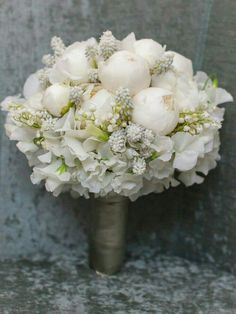 Wedding Bouquet Arranged With: White Peonies, White Sweet Pea, White Muscari Hyacinth + Lily Of The Valley