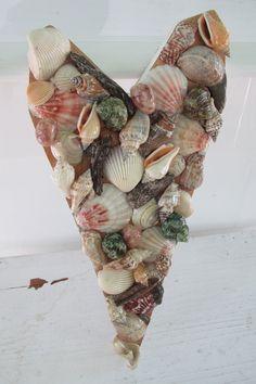 Sea Shell Heart. Sea Shell Wall Art, Sea Shell Décor, Beach Décor, Nautical Décor,  Seaside, Ocean, Seashore, Beach House by SilvaLiningDesigns on Etsy