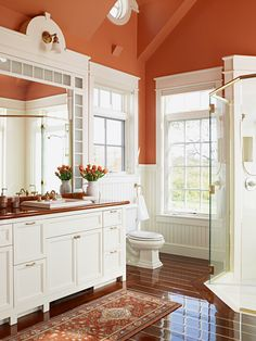 RFD Architects | Wind Shadows Estate | bathroom with russet walls and white beadboard wainscoting