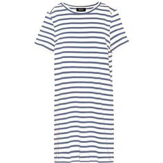 A.P.C. Striped Cotton T-Shirt Dress (3,055 MXN) ❤ liked on Polyvore featuring dresses, blue, short, cotton t shirt dress, cotton dress, t-shirt dresses, striped dress and white blue dress