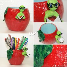Apple pencil holder - glass, paper-mache paste, paper clay, acrylic paint, varnish
