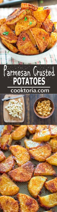 These tasty Parmesan Crusted Potatoes are so addictive, that you won't be able to stop eating until you finish them all!COM (baked dinner recipes parmesan crusted) Finger Food Appetizers, Healthy Appetizers, Appetizer Recipes, Recipes Dinner, Vegetable Recipes, Vegetarian Recipes, Healthy Recipes, Potato Recipes, Parmesan Crusted Potatoes