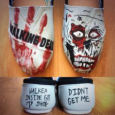 Hand Painted The Walking Dead Shoes by TheFiercestFandom on Etsy Carl The Walking Dead, Walking Dead Zombies, Cheap Toms Shoes, Hand Painted Shoes, Painted Toms, Painted Canvas, Vanz, Dead Inside, Stuff And Thangs
