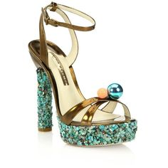 Sophia Webster Loren Metallic Leather Crystal-Platform Sandals (30,895 INR) ❤ liked on Polyvore featuring shoes, sandals, apparel & accessories, multi, open toe high heel sandals, ankle strap sandals, ankle strap high heel sandals, ankle tie sandals and leather ankle strap sandals