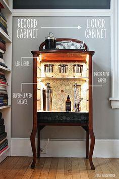 liquor cabinet before u0026 after