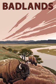 Badlands, North Dakota - Bison and Buttes - Lantern Press Poster