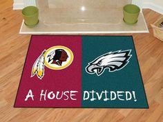 "NFL - Washington Redskins - Philadelphia Eagles House Divided Rugs 33.75""x42.5"""