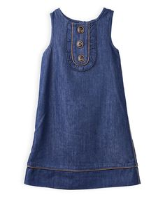 Look at this Denim Bib A-Line Dress - Girls on #zulily today!