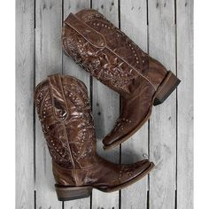 Corral Studded Square Toe Cowboy Boot - Brown US 8 ($220) ❤ liked on Polyvore featuring shoes, boots, ankle booties, brown, corral boots, tall brown boots, tall cowgirl boots, brown cowgirl boots and square toe cowboy boots