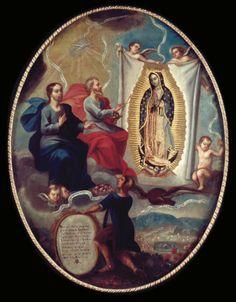 Joaquín Villegas 1713. El Padre Eterno pintando a la virgen de Guadalupe. Óleo/tela, 101 X 76.5 cm