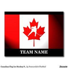 Canadian Flag Ice Hockey Player Icon Postcard