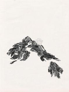 Epidote calybite Collage - sérigraphie - dessin  42 x 29,7cm - 2012 Vente aux enchères du 57ème Salon de Montrouge,  conduite par Maît...