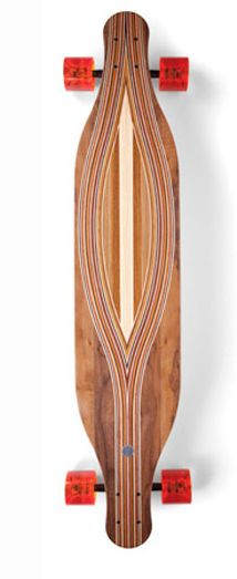 Home of the most fluid, organic skateboard imaginable. The top lateral laminations create a continually changing grain orientation that is both beautiful and structural by contrasting the bottom's parallel grain. The resulting artfully cambered board is thin, flexible and strong for a premium ride.