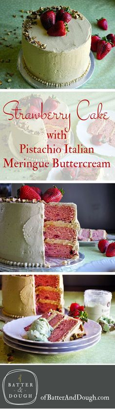 This Strawberry Cake from scratch is covered in a thick layer of Pistachio Buttercream and flavored with fresh strawberries, strawberry jam and a hint of lime.