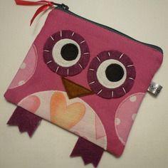 Porte-monnaie hibou rose - pois coeur
