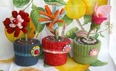 flower pot pin cushions made from felted sweaters