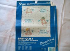 VINTAGE Baby Quilt Top - Stamped with Teddy Bears for Embroidery - SWEET DREAMS #VogartCrafts