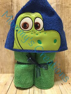"Dino Explorer Dinosaur Applique Hooded Bath Towel, Beach Towel 30"" x 54"" by MommysCraftCreations on Etsy"