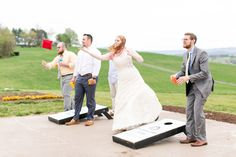 Play cornhole at On Sunny Slope Farm during your reception for a laidback feel.