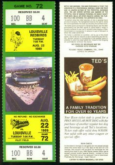 AUG 1989 BUFFALO BISON VS LOUISVILLE BIRDS FULL TICKET NMMT FREE SHIPPING