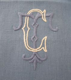 Julia B. monogram in ecru and denim linen