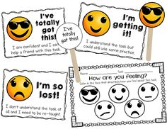 Emoji Self Evaluation Posters and Exit Tickets