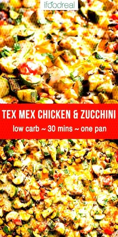 Mexican low carb chicken and zucchini recipe cooked in one skillet with black beans corn fresh herbs taco seasoning and melted cheese on top One pan healthy 30 minute meal ifoodreal cleaneating lowcarb keto chicken Healthy Family Meals, Healthy Dinner Recipes, Cooking Recipes, Zucchini Dinner Recipes, Healthy Low Carb Dinners, Dessert Recipes, Family Recipes, Healthy Dinner With Chicken, Low Carb Dinner Meals