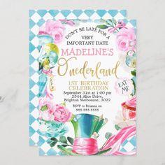 Alice In Onederland 1st Birthday Invitation Kids Birthday Party Invitations, Pink Invitations, Baby Shower Invitations, Invitation Ideas, Invite, 1st Birthday Gifts, Tea Party Birthday, 13th Birthday, Birthday Ideas